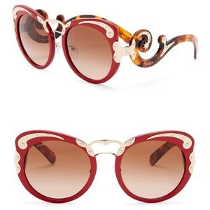 Prada Minimal Baroque 54mm Round Sunglasses